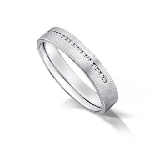 Channel set flat court eternity/wedding ring, platinum. 4mm x 1.7mm. 1/2 coverage